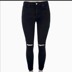 TOPSHOP black jeans with holes at the knee
